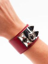 Women Hermès Red Leather Collier de Chien Bracelet