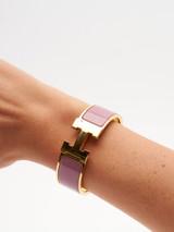 Women Hermès Gold Plated Lilac Wide Clic Clac H Bracelet