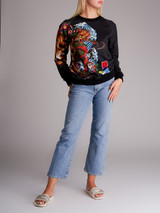 Women Balmain Black Tiger & Dragon Graphic Cotton Sweatshirt - Size S UK 8 US 4 FR 36