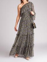 Women MSGM Black Silk Star Pattern One Shoulder Maxi Dress - Size XS UK6 US0 IT38