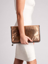 Women Stella McCartney Bronze Leather Falabella Evening Flap Clutch
