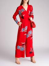 Women Diane von Furstenberg Red Floral Print Crepe Farren Jumpsuit - Size M UK12 US8