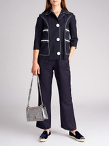 Women Michael Kors Navy Blue Cotton Button Jacket - Size XS UK6 US2