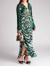 Women Gucci Vintage 1996 Green Rayon Print Maxi Dress - Size M UK10 US8 IT42