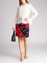 Women Oscar de la Renta White Silk Embellished Shirt - Size M UK10 US6