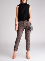 Women Dolce & Gabbana Burgundy Acetate Printed Pants - Size M UK10 US8 IT42