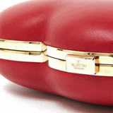 Women Valentino Carry Secrets Leather Heart Clutch -  Red