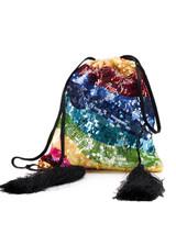 Women The Attico Multicolour Sequinned Viscose Rainbow Drawstring Pouch Bag