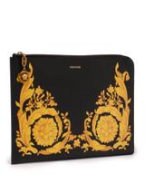 Women Versace Pattern Calf Leather Clutch -  Black