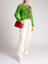 Women Gucci Green Snake Embroidered Wool Knit Sweater - Size S UK8 US4