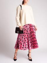 Women Celine White Open Back Wool Knit Sweater - Size S UK8 US4