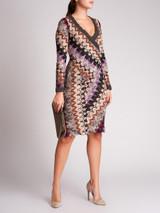 Women Missoni Multicolour Wool Wrap Midi Dress - Size XS UK6 US0 IT38
