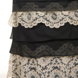 Women Valentino Black Organza Gown with White Lace Border - Size M  Black US 8 IT 44