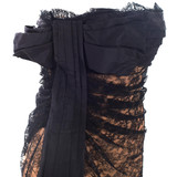 Women Valentino Strapless Dress Nude with Black Lace -  Black Size M US 6 IT 42