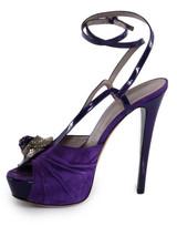 Women Versace Floral Metal Mesh Platform Sandal Heels -  Purple Size 39.5 US 9.5