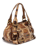 Women Jimmy Choo Python Leather Bag -  Brown