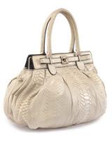 Women Zagliani Exotic Leather Handbag -  White