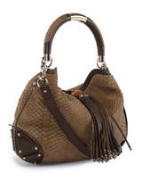 Women Gucci Python Indy Hobo Bag -  Brown