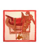 Women Hermès Selle D'apparat Marocaine Scarf -  Brown/Red/Pink