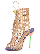Gold 'Delphine Fruit Lace-Up' Sandal Heels