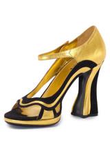 Women Prada Wavy Sandal Block Heels -  Gold Size 39 US 9