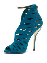 Women Jimmy Choo Peep-Toe Cut-Out Heels -  Blue Size 39 US 9