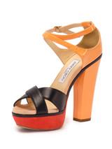 Women Jimmy Choo Sandal Block Heels -  Orange Size 38.5 US 8.5