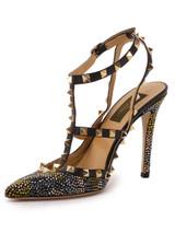 Women Valentino Crystal Rockstud Heels -  Black Size 39 US 9