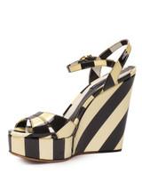 Women Dolce & Gabbana Striped Wedge Sandal Heels -  Black/White Size 38.5 US 8.5