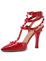 Women Valentino Tone on Tone Rockstud Heels -  Red Size 39 US 9