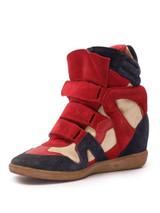 Women Isabel Marant Bekett Wedged Sneakers -  Red/Blue/White Size 40 US 10