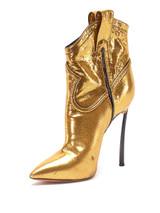 Women Casadei Metallic Stiletto Heel Cowboy Boots -  Gold Size 38 US 8