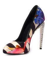 Women Giuseppe Zanotti Stripe Floral Pump Heels -  Black/Pink/White Size 38 US 8
