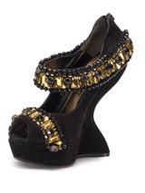 Women Alexander McQueen Jewelled Curved Wedge Heels -  Black Size 38 US 8