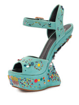 Women Giuseppe Zanotti No Heel Crystal Studded Wedges -  Blue Size 39 US 9