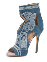 Women Ermanno Scervino Denim Peep-Toe Sandal Heels -  Blue Size 38 US 8