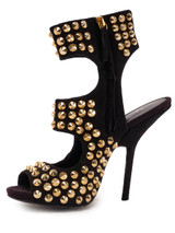 Women Giuseppe Zanotti Alien Studded Sandal Heels -  Black Size 38 US 8