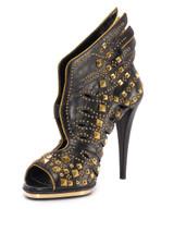 Women Roberto Cavalli Embellished Angel Sandal Heels -  Black Size 38.5 US 8.5