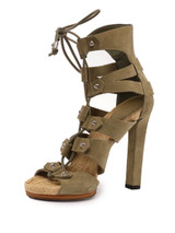 Women Gucci Lace-up Sandal Heels -  Green Size 38 US 8