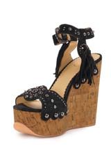 Women Ash Embellished Sandal Wedges -  Black/Brown Size 39 US 9
