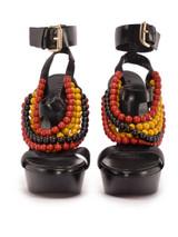 Women Burberry T Strap Beaded Sandal Heels -  Black Size 38 US 8