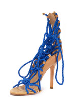 Women Sergio Rossi Opanca Rope Lace-Up Sandal Heels -  Blue/Brown Size 38 US 8