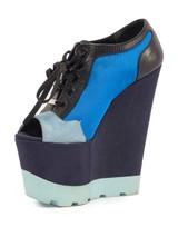 Women Kurt Geiger Ultra Platform Peep-Toe Lace-Up -  Blue Size 38 US 8