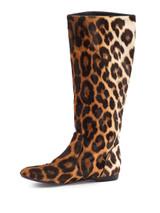 Women Giuseppe Zanotti Printed Knee-High Boots -  Brown/Black Size 38.5 US 8.5