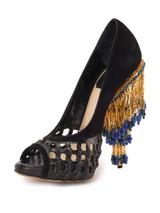 Women Dior Peep-Toe Jewelled Heel -  Black Size 38 US 8