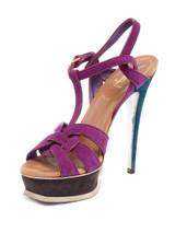 Women Yves Saint Laurent Tribute Sandal Heels - Purple Size UK 5.5 US 8.5 EU 38.5