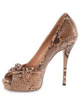 Women Gucci Bow Peep-Toe Platform - Brown Size UK 5 US 8 EU 38