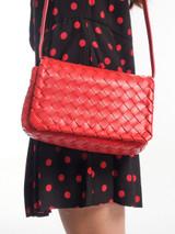 Red Leather 'Intrecciato' Weave Bag