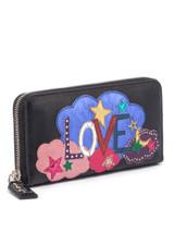 Women Saint Laurent Rive Gauche Love Zip Around Wallet - Black
