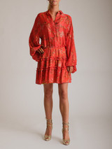 Women Alexis Loe Blooming Floral-Print Dress - Red Size S UK 8 US 4
